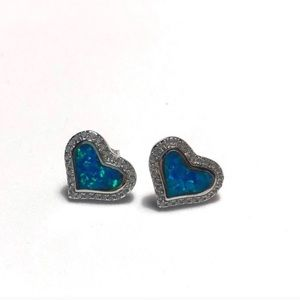 925 Sterling Silver Blue Opal Heart Earrings